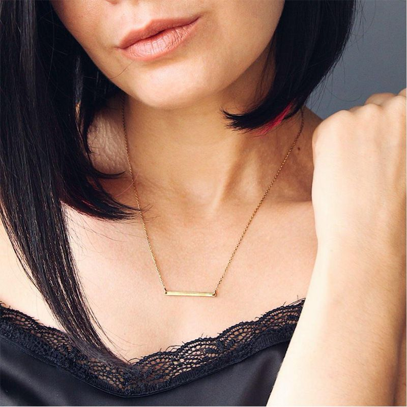 Korean new 925 silver rectangular simple clavicle chain necklace pendant for women item jewelry  NHTF242012