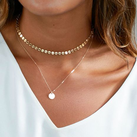 Fashion simple trend double-layer explosion jewelry titanium steel gold-plated clavicle chain necklace for women NHTF242013's discount tags