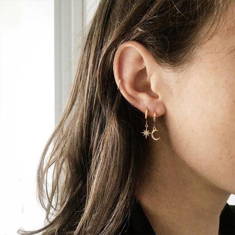 Fashion Full Diamond Star Moon Asymmetrical Stud Titanium Steel Earrings  NHTF242016's discount tags