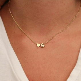 fashion jewelry simple heart-shaped letter women's gold-plated necklace clavicle chain wholesale NHTF242018