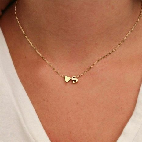 fashion jewelry simple heart-shaped letter women's gold-plated necklace clavicle chain wholesale NHTF242018's discount tags