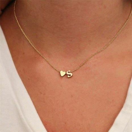 joyería de moda simple en forma de corazón carta chapado en oro de las mujeres collar de cadena de clavícula al por mayor NHTF242018's discount tags