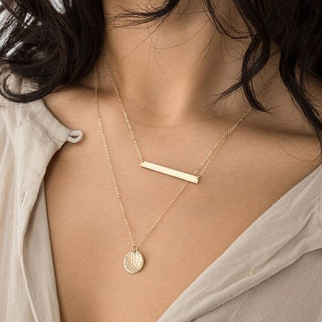 New stainless steel fashion geometric pendant stacking clavicle chain necklace for women NHTF242019's discount tags