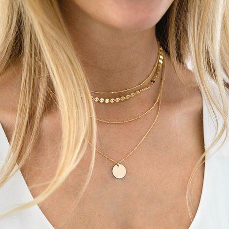 Colgante de medallón de acero de titanio coreano collar de apilamiento de explosión de clavícula de múltiples capas para mujeres NHTF242021's discount tags
