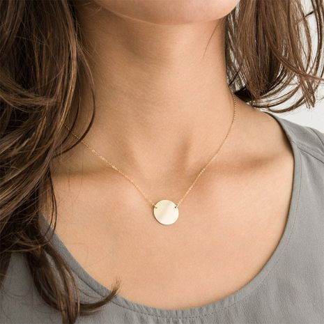 Fashion simple round pendant 925 silver geometric smooth necklace clavicle chain for women NHTF242022's discount tags