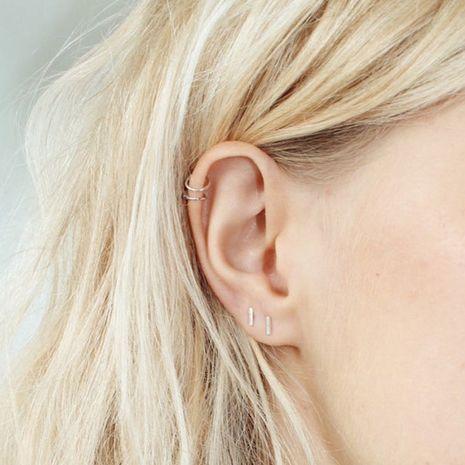 Pendientes simples de acero inoxidable con doble C sin pendientes geométricos con clip de oreja chapados en oro para mujeres NHTF242023's discount tags