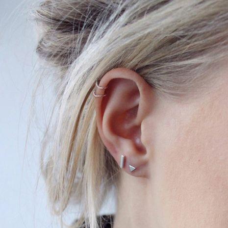 Conjunto de acero inoxidable geométrico de moda sin aretes perforados para mujer NHTF242025's discount tags