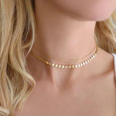 Collar de acero inoxidable de cadena de doble capa de tendencia de moda de nuevo producto para mujer NHTF242027's discount tags