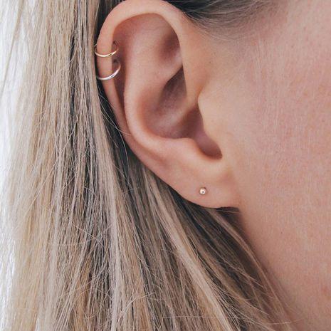 Pendiente esférico simple del clip del oído del acero inoxidable vendedor caliente para las mujeres al por mayor NHTF242028's discount tags