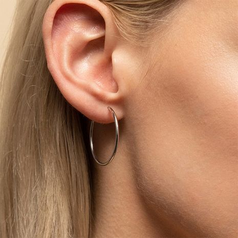 Pendientes chapados en oro de acero inoxidable geométricos simples exagerados a la moda para mujeres NHTF242029's discount tags