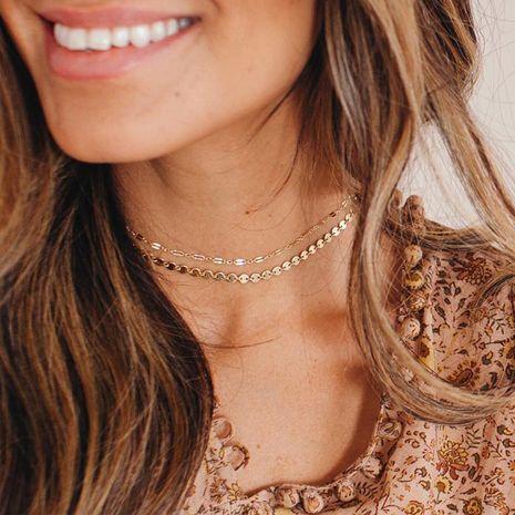 Collar de oro de 14 quilates chapado en acero de titanio con cadena de doble capa para mujer NHTF242033's discount tags