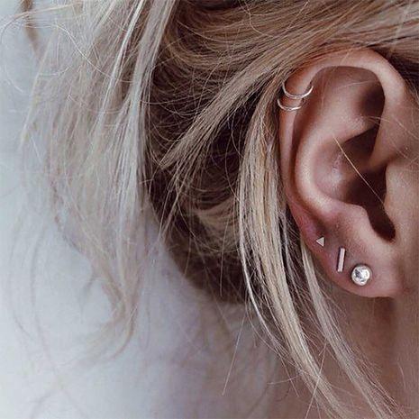 Pendientes geométricos simples de acero inoxidable de moda para mujer al por mayor NHTF242036's discount tags