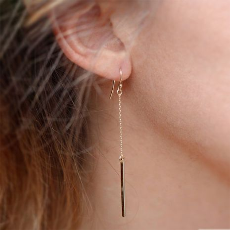 Fashion simple long type stainless steel gold-plated chain ear hook earrings for women NHTF242037's discount tags