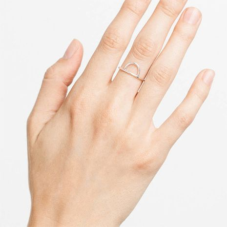 Fashion stainless steel simple geometric  golden  finger ring NHTF242038's discount tags