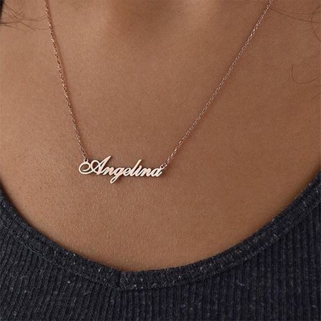 Customized Name Necklace Titanium Steel Simple Letter Pendant Necklace for Women Wholesale Steel/Gold Color NHTF242040's discount tags