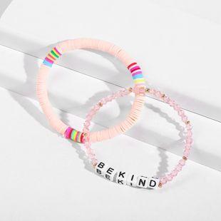 nouvelle lettre de poterie molle cristal vente chaude bracelet de perles de couleur à la main NHLL242100's discount tags