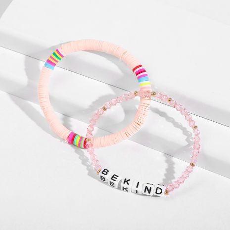 new soft pottery letter crystal hot-selling handmade color beaded bead bracelet NHLL242100's discount tags