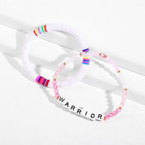 Fashion soft ceramic alphabet crystal handmade color beaded bracelet  NHLL242102's discount tags