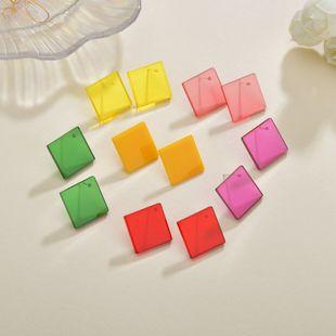 Boucles d'oreilles dames d'été coréen carré géométrique transparent de couleur bonbon coloré NHBQ242105's discount tags