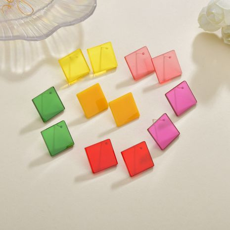 Colorful candy color transparent geometric square Korean summer ladies earrings NHBQ242105's discount tags