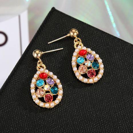 925 argent aiguille de couleur diamant boucles d'oreilles goutte d'amour en gros nihaojewelry NHGO242108's discount tags