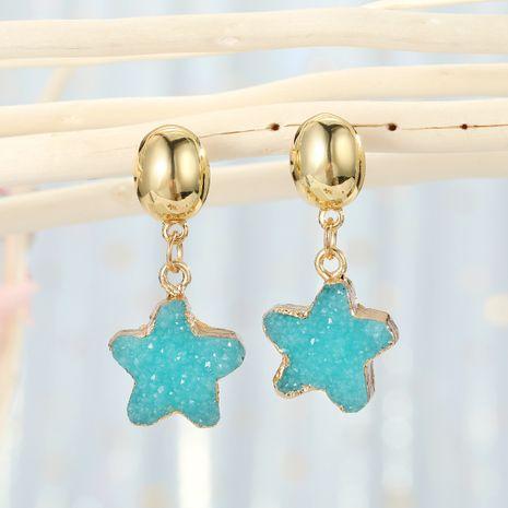 Pendientes pequeños de estrella de piedra natural coreana dulce de moda para mujer NHGO242109's discount tags