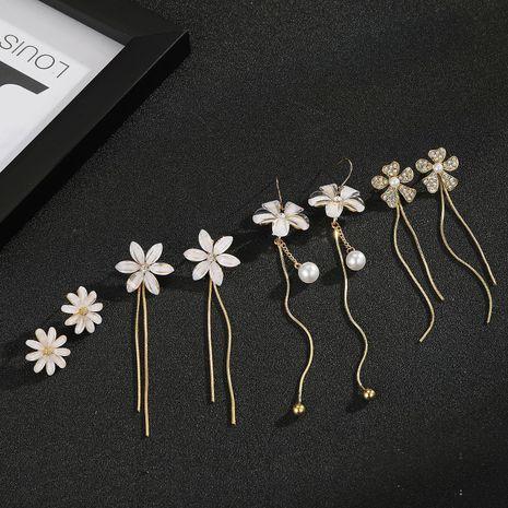 925 silver needle pearl flower earrings white tassel earrings wholesale nihaojewelry NHGO242111's discount tags