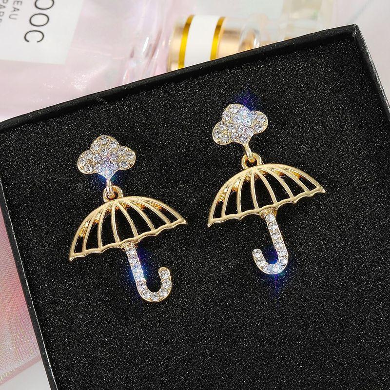925 silver needle rainbow umbrella rhinestone cross earrings wholesale nihaojewelry NHGO242112