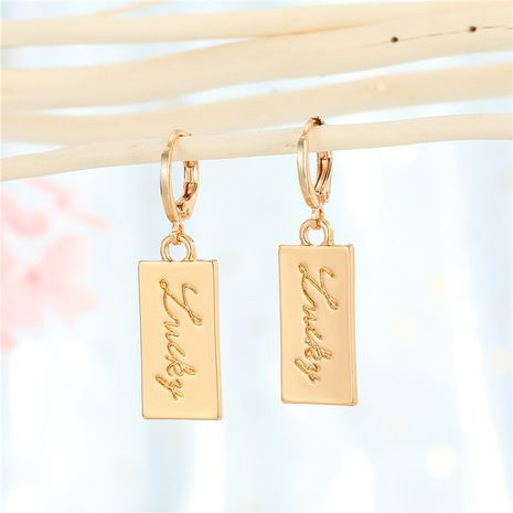 boucles d'oreilles en métal pendentif porte-bonheur rectangulaire boucles d'oreilles simples en gros nihaojewelry NHGO242114's discount tags