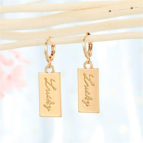 metal earrings rectangular lucky pendant simple earrings wholesale nihaojewelry NHGO242114's discount tags
