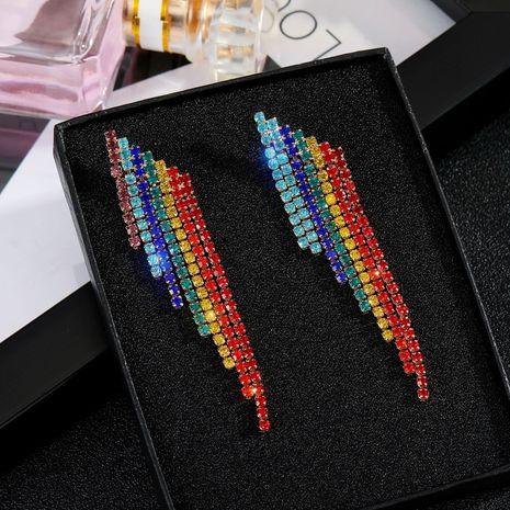 Boucles d'oreilles en argent 925 avec pompon arc-en-ciel boucles d'oreilles en strass colorés en gros nihaojewelry NHGO242115's discount tags