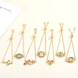 Fashion new colorful zircon religious simple multicolor adjustable bracelet NHGO242116