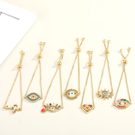 Fashion new colorful zircon religious simple multicolor adjustable bracelet NHGO242116's discount tags