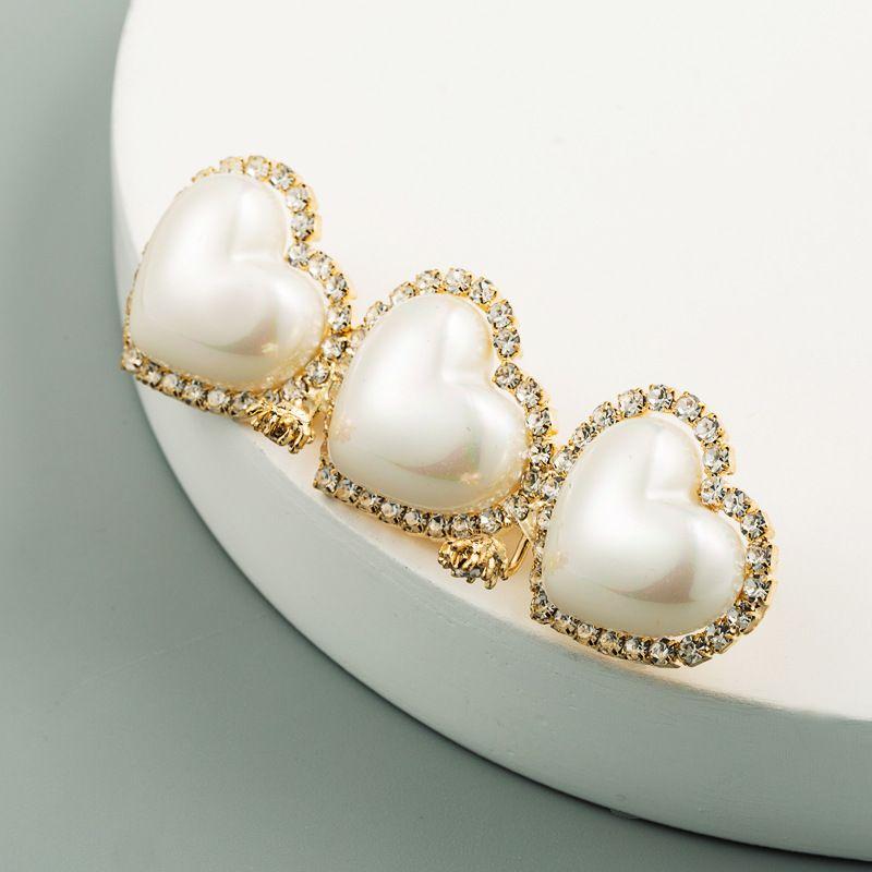 fashion heart-shaped hairpin Korea hairpin bangs duckbill pearl clip wholesale NHLN242120