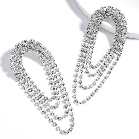 Boucles d'oreilles en alliage arqué diamant strass multicouche gland en gros nihaojewelry NHJE242127's discount tags
