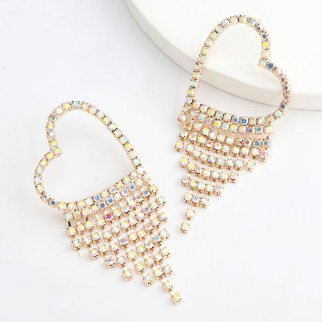 Boucles d'oreilles en alliage en forme de coeur en alliage de diamants cloutés en strass en gros nihaojewelry NHJE242128's discount tags