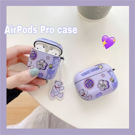 Purple label bear protective sleeve for AirpodsPro wireless Bluetooth headset wholesale nihaojewelry NHFI242263's discount tags