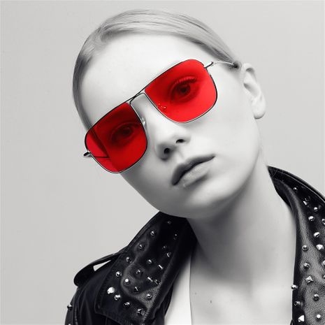 square frame metal fashion new retro street sunglasses for women NHXU242340's discount tags