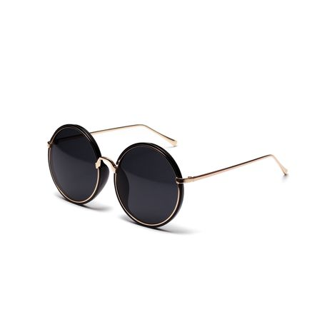 Retro round black simple ladies sunscreen sunglasses wholesale NHXU242344's discount tags