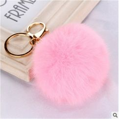 Cute metal buckle rabbit fur ball pendant fashion bag keychain  NHHV242354