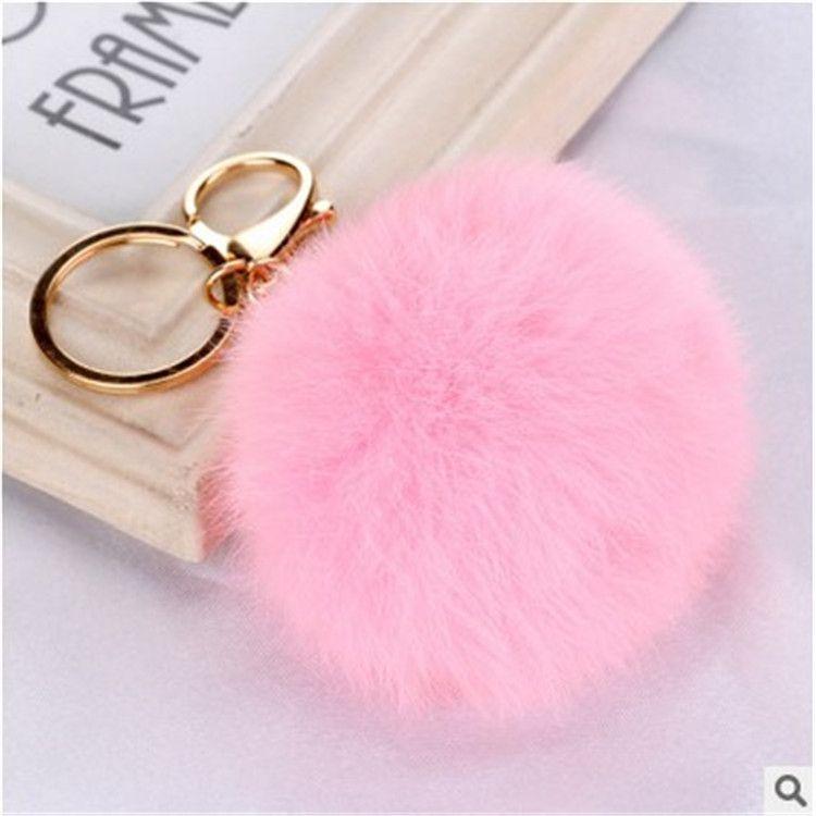 Cute metal buckle rabbit fur ball pendant fashion bag keychain  NHHV242354