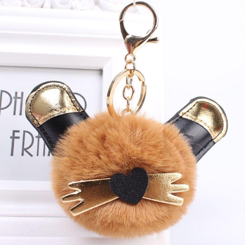 Cat rabbit fur ball pendant lady leather cute rex rabbit keychain wholesale NHHV242356