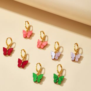 New Fashion Simple Cute Candy Color Butterfly Earrings wholesale nihaojewelry NHGY242456's discount tags