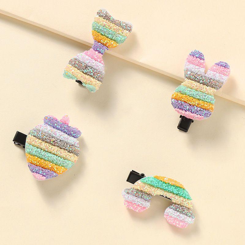 cute rainbow  hair trim side clip princess children  clip set  NHNU242463