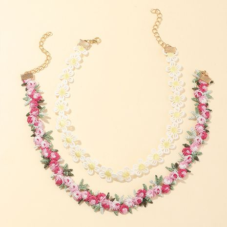 Korean new fabric flower necklace new flower girl style clavicle chain wholesale nihaojewelry NHNU242480's discount tags