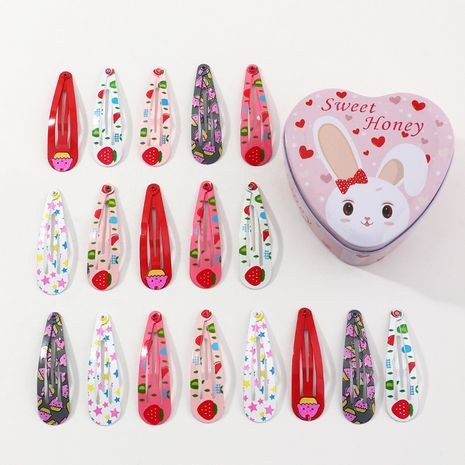 new  printing fruit plaid flower drop-shaped BB clip 18 pieces children's side clip box NHNU242484's discount tags