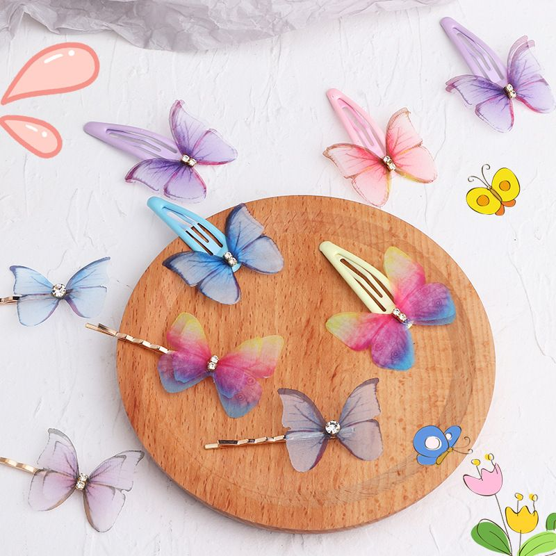 Korean  children's colorful butterfly bangs word clip top clip  set  NHNU242485