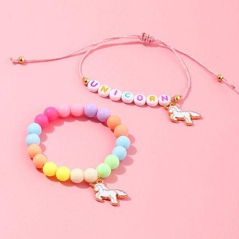 Letras de color caramelo coreano pulsera de unicornio con cuentas para niños conjunto de dos piezas al por mayor nihaojewelry NHNU242490's discount tags