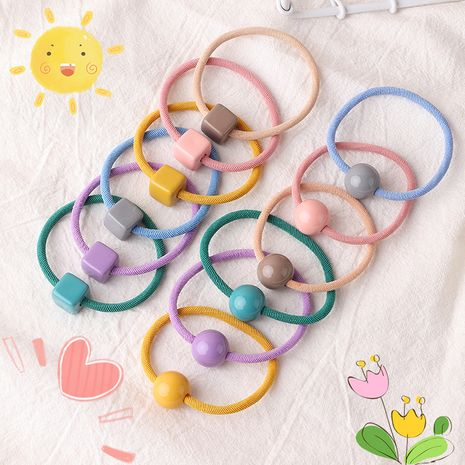 Korean simple girl candy color  round ball square head rope NHNU242491's discount tags