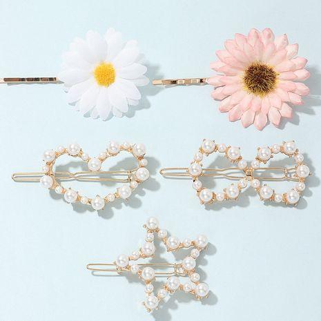 Korean  alloy pearl hairpin sweet  buckle clip bangs clip set  NHNU242493's discount tags